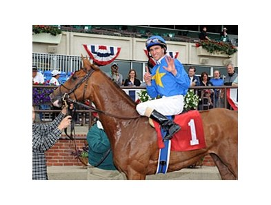 Ramon Dominguez celebrates win number 6 at Belmont Park on June 5, 2011.