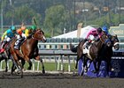 Dancing in Silks (left) makes his move in the Breeders' Cup Sprint.