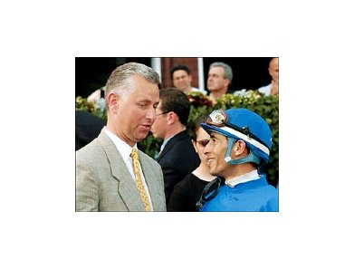 Jockey John Velazquez, right, will ride Circular Quay for trainer Todd Pletcher, left, in the Kentucky Derby.
