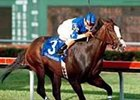 Songandaprayer, with Edgar Prado aboard, runs to victory in the $200,000 Fountain of Youth Stakes, Saturday, Feb. 17, 2001, at Gulfstream Park in Hallandale, Calif. (AP Photo/Equi-Photo, Bill Denver)
