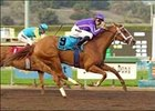 Rags to Riches and Garrett Gomez win the Las Virgenes Stakes Feb. 10.
