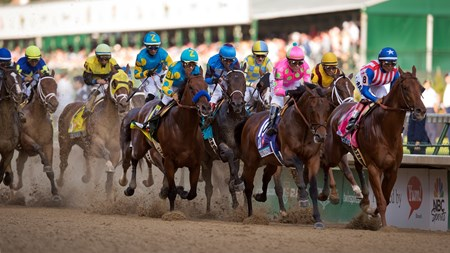 The field for the 141st running of the Kentucky Derby head under the Twin Spires for the first time at Churchill Downs.