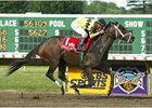 Newly-retired Summer Colony winning the Molly Pitcher Breeders' Cup Handicap this past June.
