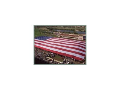 An American flag stretches across the track at Del Mar.