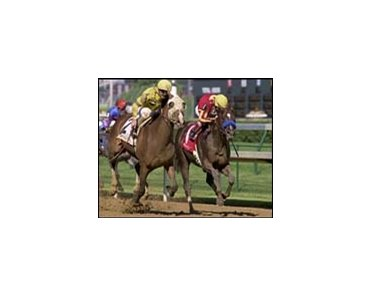 Guided Tour, shown winning the Stephen Foster, won Saturday's Washington Park Handicap by four lengths.