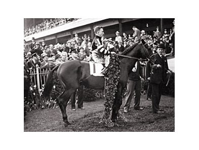 1937 Triple Crown Winner War Admiral in the Derby Winner's Circle.