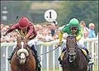 Electrocutionist, left, en route to victory over Zenno Rob Roy in the Juddmonte International Stakes at York in August 2005.