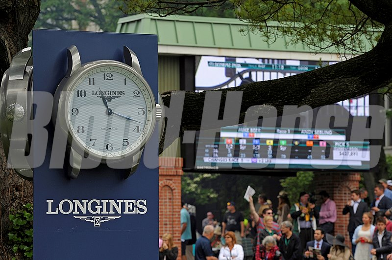 Caption:  Longines clock, sponsorship