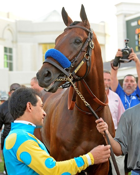 Caption: with Victor in paddock