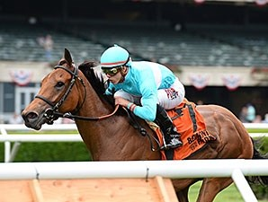 Lady Eli wins the Wonder Again Stakes.