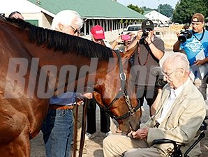 Dr. William McGee and American Pharoah on June 12, 2015.