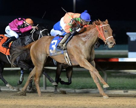 Dubai Kowboy lassos the victory in the Gray's Lake Stakes at Prairie Meadows.