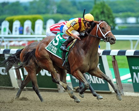 Stonestreet Stables Cavorting (#5), Irad Ortiz Jr. up, runs by Enchanting Lady and Spark, to win the Jersey Girl Stakes at Belmont Park on June 5, 2015.  © 2015 Rick Samuels/The Blood-Horse