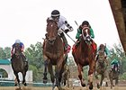 Alsvid (center) defeated Work All Week (right) in the May 30 Aristides.