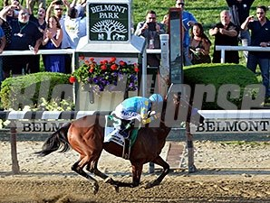 American Pharoah wins the Belmont Stakes and Triple Crown.