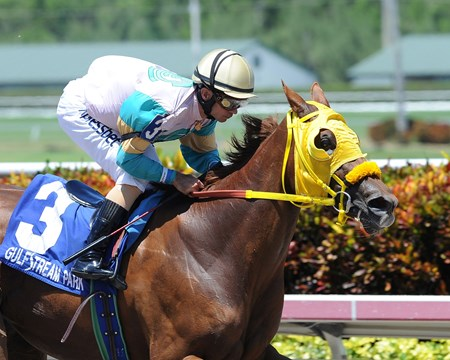Flutterby sped gate to wire in a dazzling 9 1/4-length triumph in the $60,000 Sea Lily Handicap, sending her 94-year-old breeder, owner, and trainer Jerry Bozzo to the Gulfstream Park winner's circle.