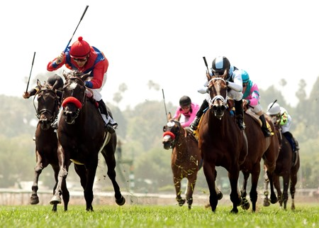 Spanish Queen and jockey Brice Blanc (left) outduel Feathered to win the Grade I $400,000 American Oaks at Santa Anita Park.