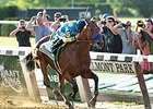 "Triple Crown winner American Pharoah<br><a target=""blank"" href=""http://photos.bloodhorse.com/TripleCrown/2015-Triple-Crown/Belmont-Stakes-147/i-fL4gP5n"">Order This Photo</a>"