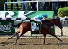 American Pharoah winning the Belmont Stakes.