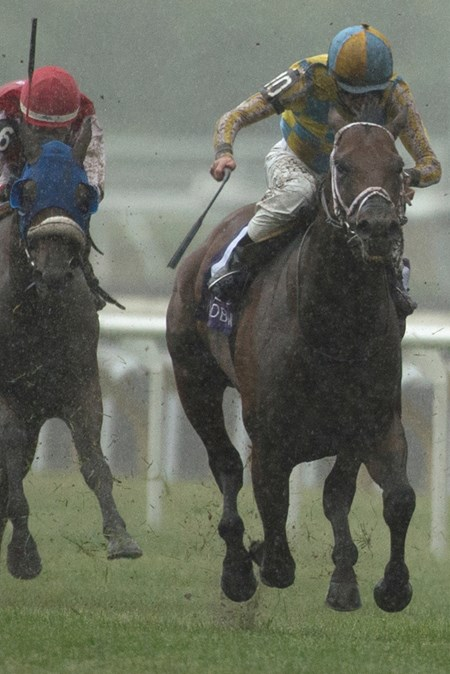 Jockey Gary Boulanger guides #10 Lockout to victory in the $200,000 Connaught Cup Stakes at Woodbine Racetrack.
