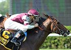"Divisidero overtakes Takeover Target to win the Pennine Ridge Stakes. <br><a target=""blank"" href=""http://photos.bloodhorse.com/AtTheRaces-1/At-the-Races-2015/i-qmgPCmz"">Order This Photo</a>"