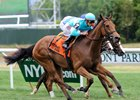 It took a while for Sheep Pond Partners' Lady Eli to find room in the $200,000 Wonder Again Stakes, but she did just in time to remain undefeated, besting 21-1 longshot Heath by a half-length in the 1 1/8-mile turf test at Belmont Park.