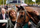 Lady Jane Cecil with Noble Mission after winning the 2014 QIPCO Champion Stakes.