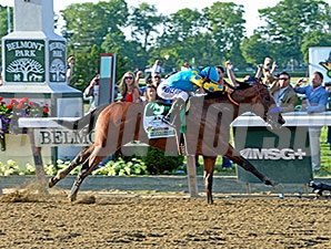 American Pharoah wins the Belmont Stakes.