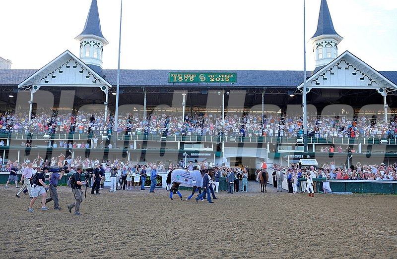 Caption: Parading in front of twin spires