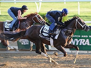 Carpe Diem (outside) and Madefromlucky worked a half-mile May 29 at Belmont Park.