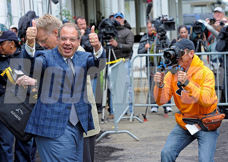 Caption:  American Pharaoh arrives at Belmont Park on June 2, 2015. Ahmed Zayat gives two thumbs up!