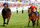 Qualify (right) comes running late to win the Investec Epsom Oaks.