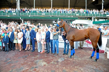 Caption: winner circle
