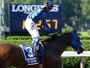 Private Zone wins the 2015 Belmont Sprint Championship Stakes.