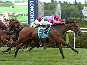 Mrs McDougal rolls late to win the Lake George Stakes.
