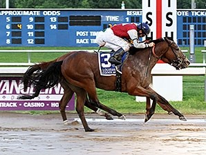 Over a Barrel wins the 2015 Louisiana Legends Starter Stakes.
