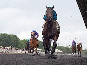 Midnight Cello runs away from the competition in the Hanshin Cup Stakes.