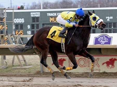 Irish Exchange and jockey Kendrick Carmouche overpower the rest of the field in the $75,000 Langhorne Stakes at Parx Racing in Bensalem, Pennsylvania on March 26, 2013.