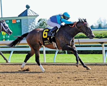 Miss Ella and jockey Rajiv Maragh capture the Adena Springs Beaumont Stakes (gr. II) at Keeneland on April 12, 2015.