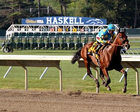 Looking for photos of the Haskell? Check out our full slideshow here: http://www.bloodhorse.com/horse-racing/slideshows/slideshow/american-pharoah-takes-the-haskell/american-pharoah-takes-the-haskell