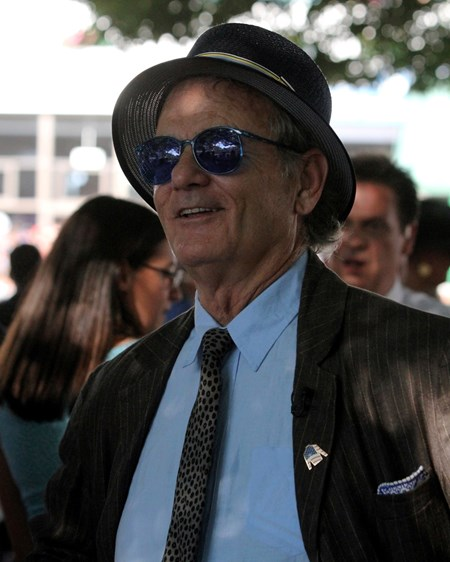 Actor Bill Murray was at Monmouth Park to give the riders up call.