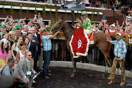 Caption: Keen Ice with Javier Castellano wins the Travers (gr. I) at Saratoga on Travers Day, Aug. 29, 2015, at Saratoga in Saratoga Springs, N.Y. Donegal Racing, Jerry Crawford, Romans Racing, Dale Romans, Tammy Fox Travers1  image Anne M. Eberhardt photo