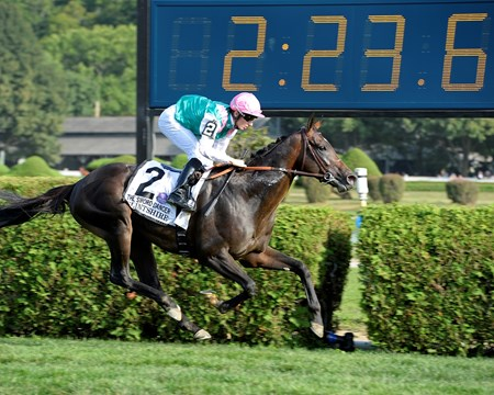 Caption: Flintshire with Vincent Cheminaud wins the Sword Dancer (gr. I) at Saratoga on Travers Day, Aug. 29, 2015, at Saratoga in Saratoga Springs, N.Y.  Travers1  image395 Anne M. Eberhardt photo