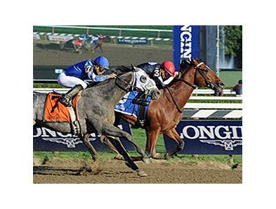 "Texas Red outfinished Frosted to win the Jim Dandy Stakes.<br><a target=""blank"" href=""http://photos.bloodhorse.com/AtTheRaces-1/At-the-Races-2015/i-2JrbC59"">Order This Photo</a>"