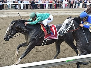 Honor Code goes by Liam's Map late to win the Whitney Stakes.