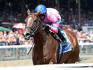 La Verdad wins the Honorable Miss Stakes at Saratoga July 29.