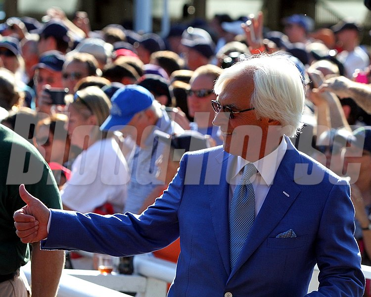 Trainer Bob Baffert in the paddock before the Haskell Invitational.