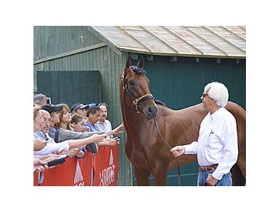 American Pharoah with Bob Baffert Aug. 30.
