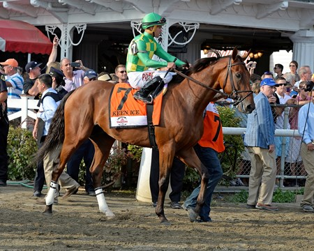 Caption: Keen Ice with Javier Castellano wins the Travers (gr. I) at Saratoga on Travers Day, Aug. 29, 2015, at Saratoga in Saratoga Springs, N.Y. Donegal Racing, Jerry Crawford, Romans Racing, Dale Romans, Tammy Fox Travers1  image468 Anne M. Eberhardt photo