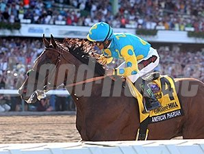 American Pharoah wins the 2015 Haskell Stakes.